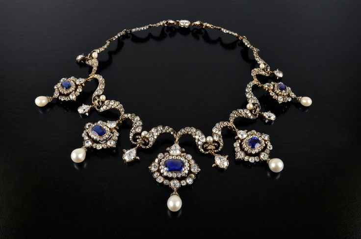 Sapphire, diamond and pearl necklace.