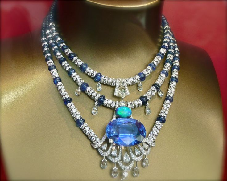 Sapphire, opal and diamond necklace.