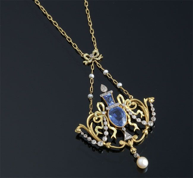 Sapphire, pearl and diamond necklace.
