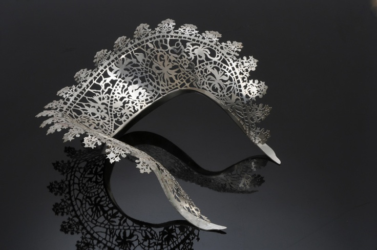 Silver lace collar necklace.