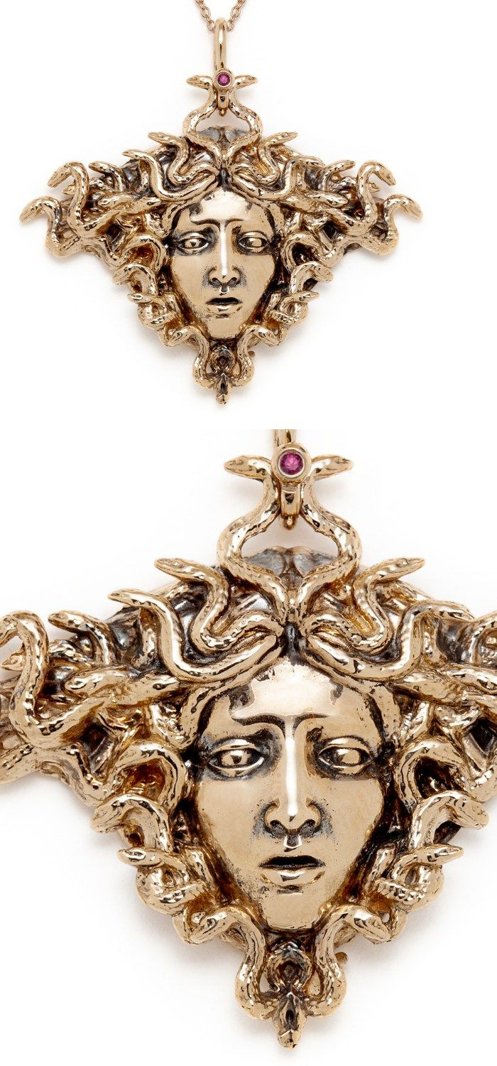 The beautiful Medusa necklace by Sofia Zakia. Handmade in 14k yellow gold, with ...