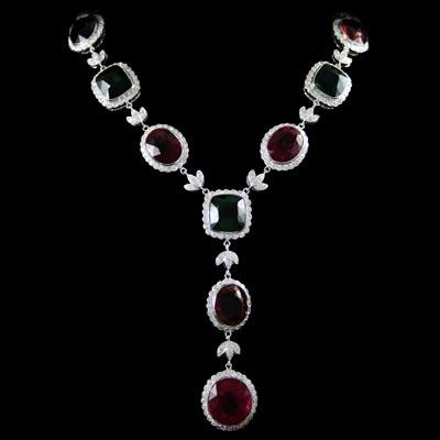 Tourmaline and diamond necklace.