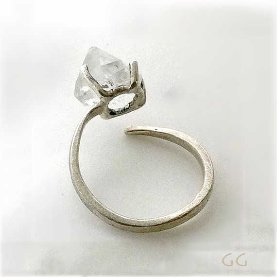 Ring with Diamond stone, Handmade.