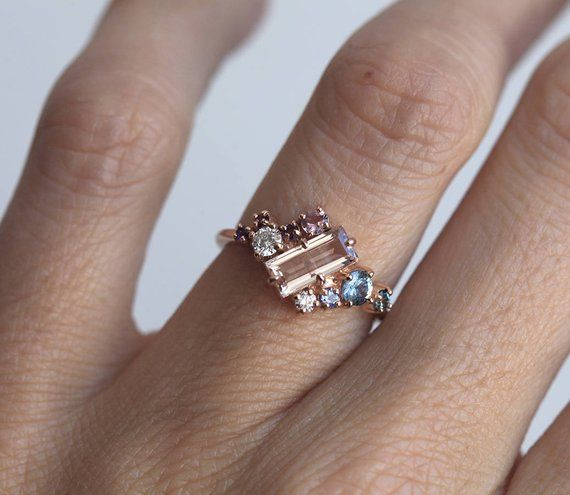 Rose Gold Morganite Ring Cluster Engagement Ring with   Etsy
