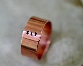 Tree Bark Sterling Silver Personalized Band Ring