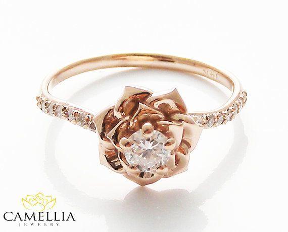 14 K Or Rose diamant bague de fiançailles de camélia bijoux Or