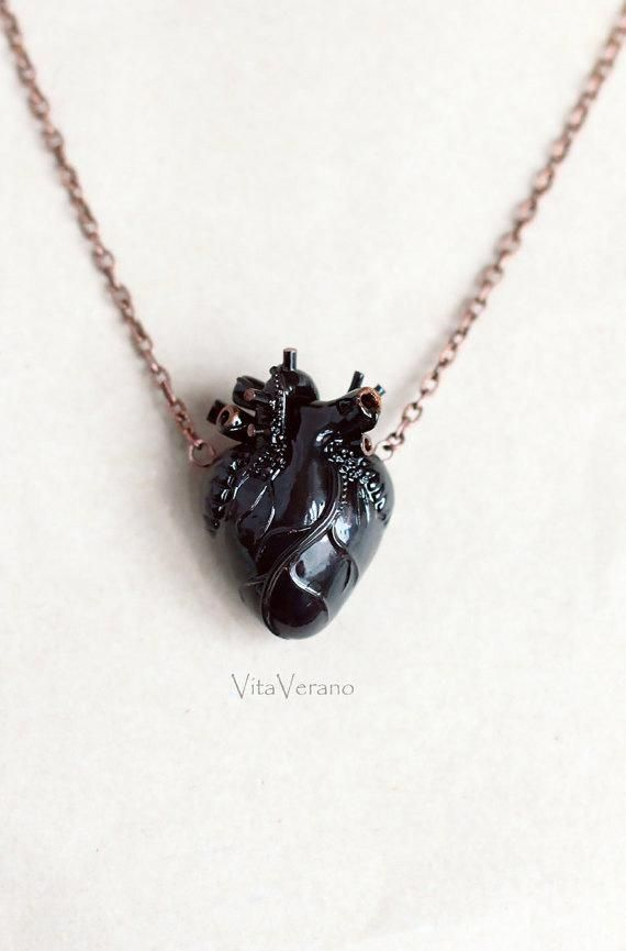 Anatomical heart necklace Black Heart Pendant Necklace Anatomical Heart Anatomy ...