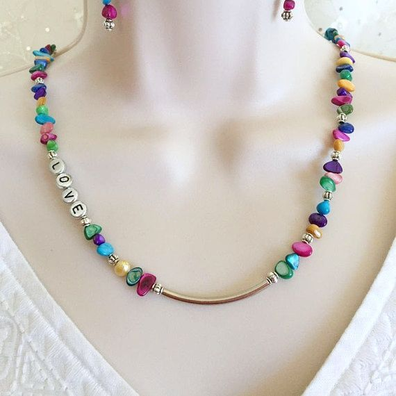 Beaded Love Necklace set, Love necklace, Shell necklace set, Multi Color necklac...