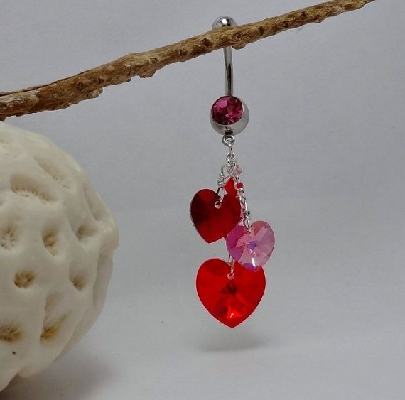 Belly Ring Crystal Hearts Red Pink   My Valentine by sexy2wear, $14.95