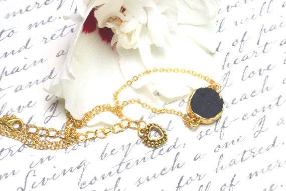 Black druzy pendant Valentines jewelry black druzy by PYKNIC2