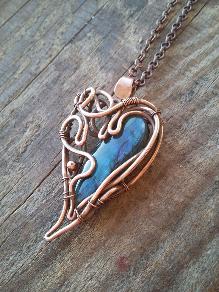 Blue gem heart pendant Labradorite heart jewelry Wire wrap heart Copper heart ne...