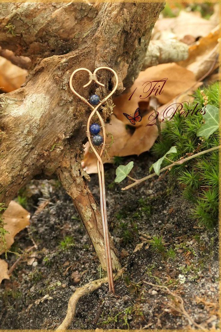 Broche Coeur et Perles de Lapis Lazulli - Fibule
