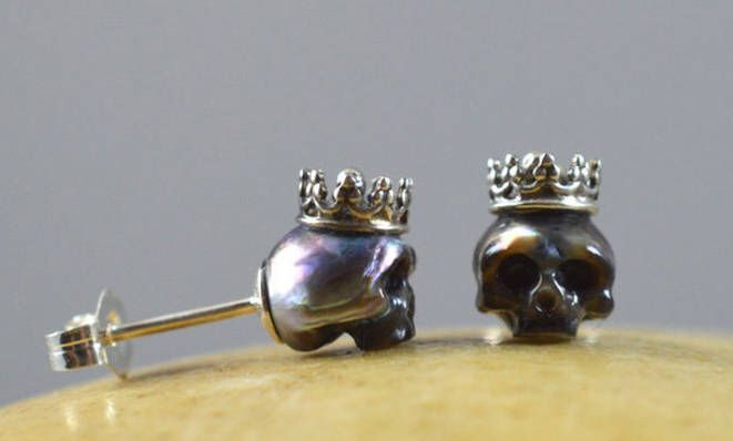 Carved Pearl Skulls Wearing Sterling Silver Crowns with Sterling Silver Backs - ...