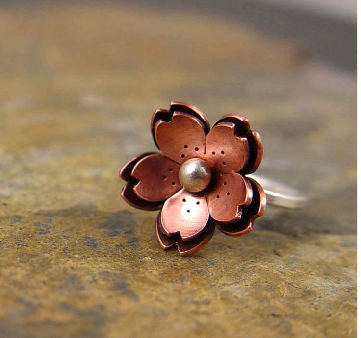Copper Double Cherry blossom Ring Metalsmithing by HapaGirls
