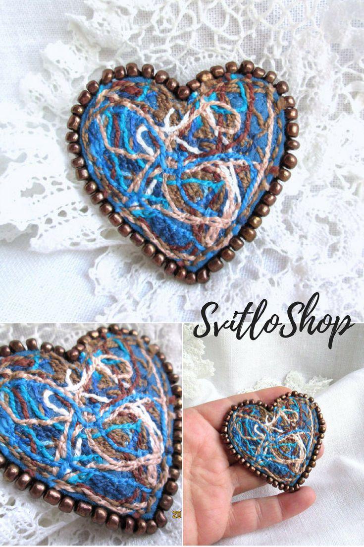 Happy heart. Valentine's Jewelry.Felt brooch.Felt Heart.Hand Stitch.Machine ...