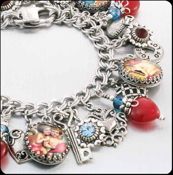 Heart Charm Bracelet Love Charm Bracelet by BlackberryDesigns, $123.00
