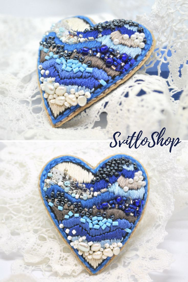 Heart brooch Hand embroidered beaded brooch Fiber art jewelry Valentine gift for...