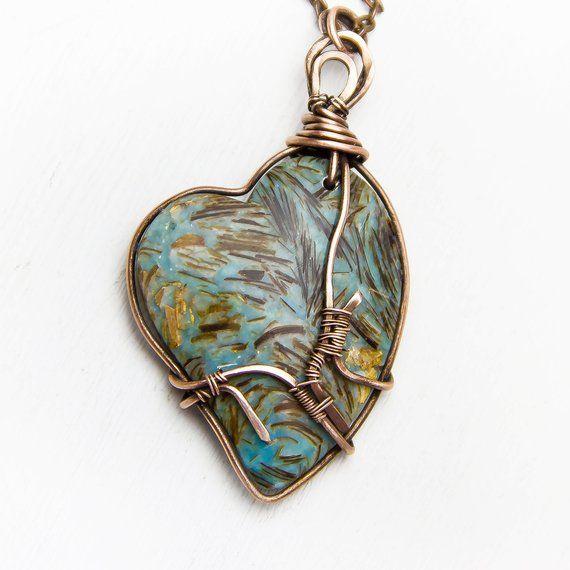 Heart necklace Personalized gift Valentines Day Bornite pendant Copper Wire Wrap...