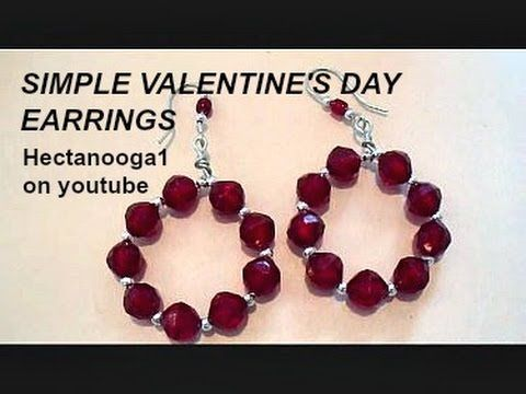 How to make Valentine's Day hoop earrings, diy jewelry making, step by step ...