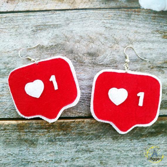 Instagram like notification felt earrings Valentines day earrings Valentine jewe...