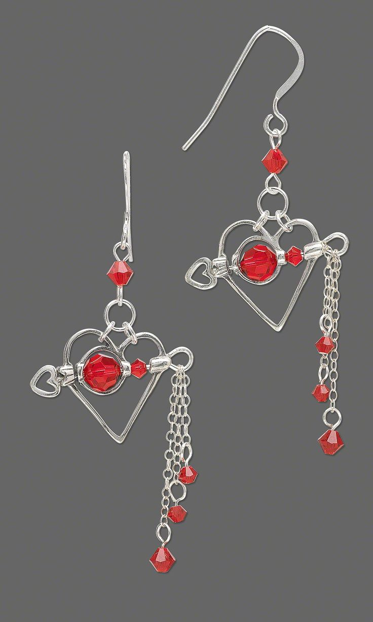 Jewelry Design - Earrings with Swarovski Crystal Light Siam Beads and Sterling S...