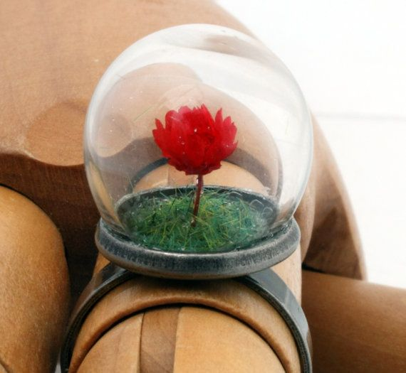 Valentines mini red rose glass dome globe ring with by XercesArt, £23.00