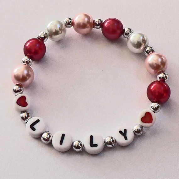 Personalized Valentine Children's Jewelry Name Bracelet great gift or Party ...