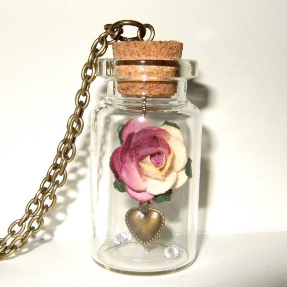 Pink Rose Bottle Necklace Paper Flower Pendant Spring Fashion Valentines Jewelry...