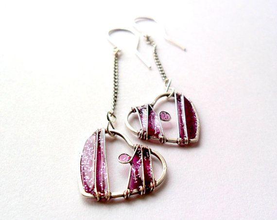 Purple heart earrings, sparkling, cute, valentine jewelry, long dangle earrings