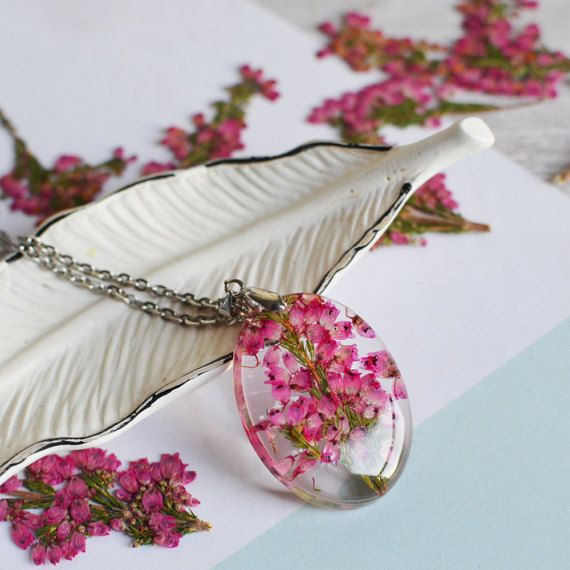 Real flower jewelry, gift for her, pressed flower, pink heather nature necklace