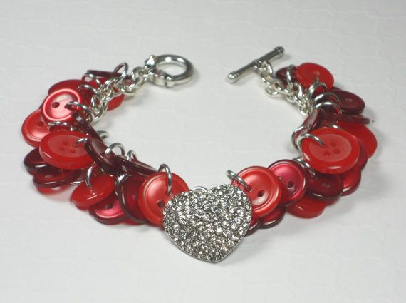 Heart Charm Button Bracelet Red Handmade by BlueJeanGirlDesigns