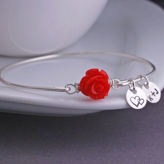 Rose Bracelet Personalized Valentine Jewelry by georgiedesigns