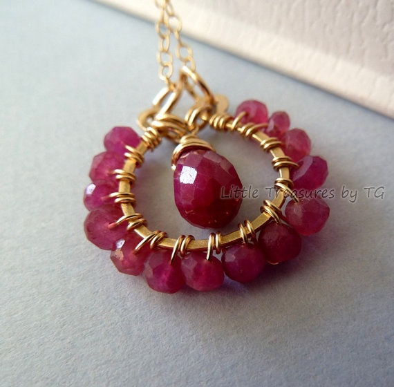 Ruby Love Valentine Day gift Red raspberry ruby wire by TatianaG, $48.00