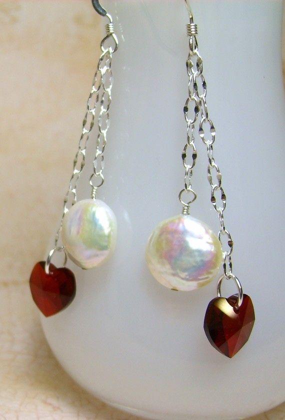 Swarovski Heart and Coin Pearl Earrings