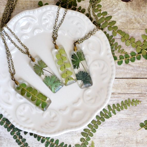 Terrarium necklace, Nature necklace fern jewelry eco resin jewelry , gift under ...