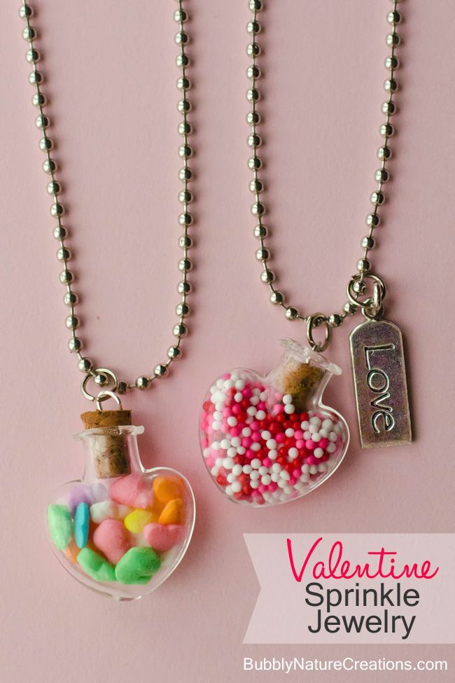 #Valentine Sprinkle Jewelry! My girls adore these necklaces. They are so cute an...