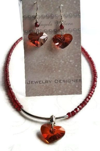 Valentines day gift for her- Red Heart Necklace set - Garnet red necklace - hear...