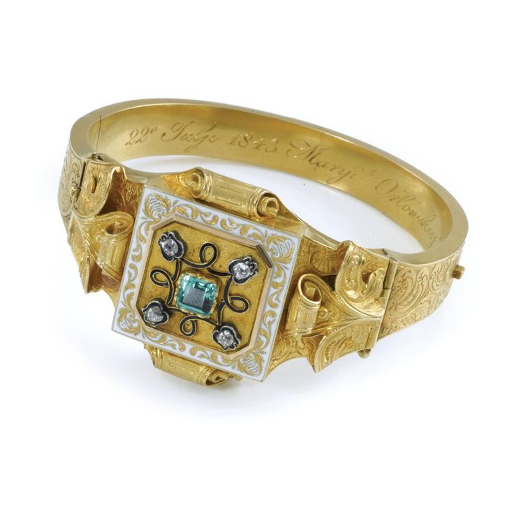 AN ENAMEL AND GEM-SET WATCH BANGLE, 19th Century | lot | Sotheby's