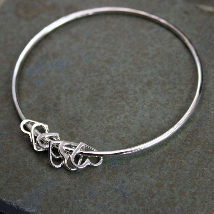 Sterling Silver Bangle, Heart Charm Bracelet, Besos, Stacking Bracelet, Stackabl...