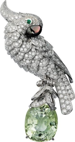 Cartier High Jewelry Fauna and Flora brooch Platinum, white gold, green tourmali...