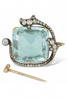FABERGÉ-AQUAMARINE AND DIAMOND BROOCH c 1890 #diamondbrooch
