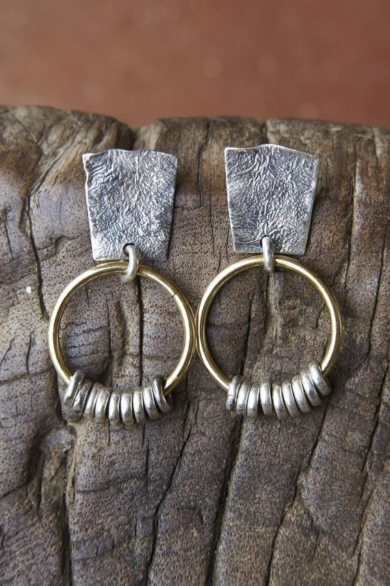 Boho textured sterling silver and brass earrings. gypsy good luck jewelry, organic earrings. $79