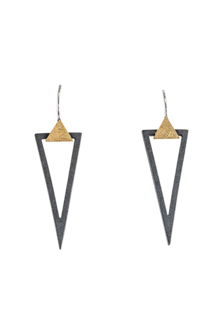 EARRINGS - OXIDIZED STERLING SILVER, 18KT $330