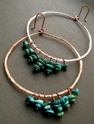 Homemade Turquoise and Copper Earrings by lea