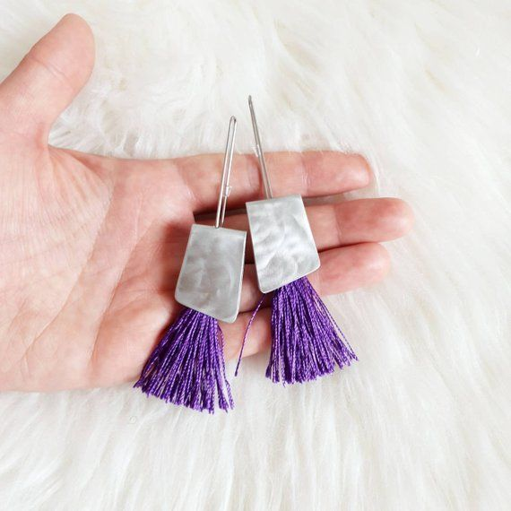 Tassel earrings Purple earrings Unusual earrings Contemporary | Etsy