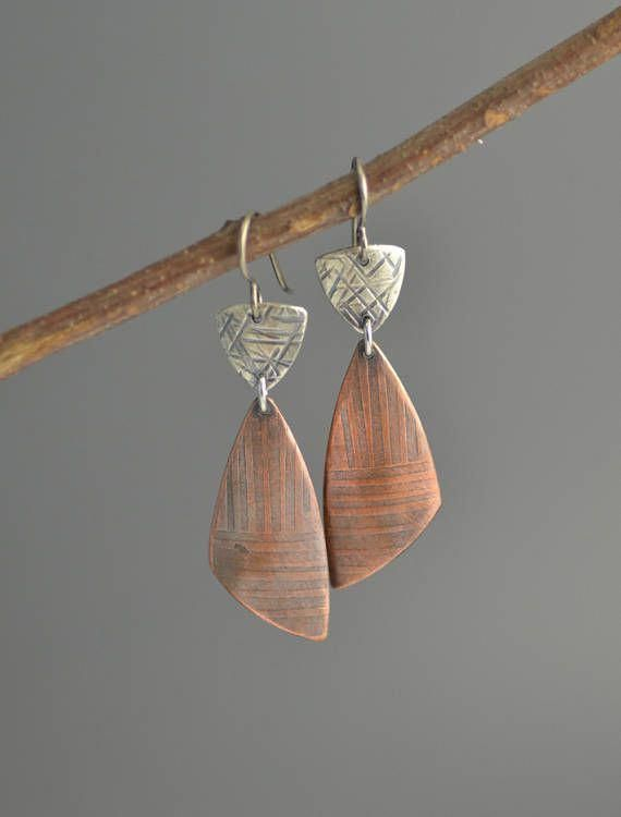 mixed metals: Copper and Silver Earrings mixed metal earrings tr... #earringshan...