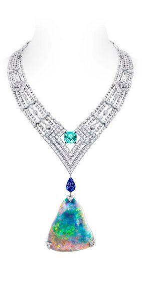 Louis Vuitton Acte V Genesis necklace featuring a 87.92ct Australian black opal ...