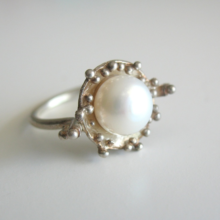 f6fda8010 Rings Ideas : Pearl Ring Silver Pearl Ring Due Drops Pearl Ring by ...
