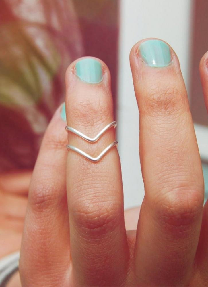 Silver Ring - Silver Set of Two Chevron | UsTrendy
