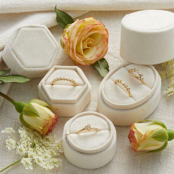 Velvet Ring Box Pearl, Engagement Ring Box, Ring Bearer Box, Wedding Ring Box, W...